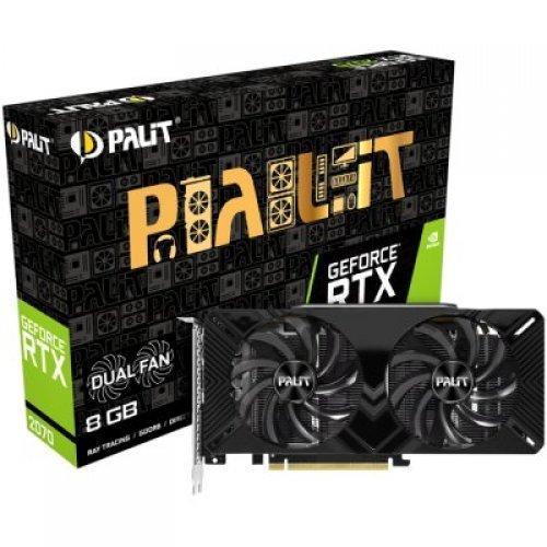 Видео карта nVidia PALIT GeForce RTX 2070 nVidia, Dual X 8GB GDDR6,256bit ,DVI,HDMI,3xDP,part# NE62070018P2-1160A (снимка 1)