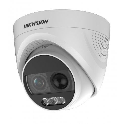 Аналогова камера HikVision DS-2CE72DFT-PIRXOF, ColorVu/ PIR/ Alarm, HD-TVI куполна Ultra-Low Light алармена камера с ColorVu технология за цветна картина при пълна тъмнина; 2 MP (FullHD 1080p@25 кад/сек) (снимка 1)
