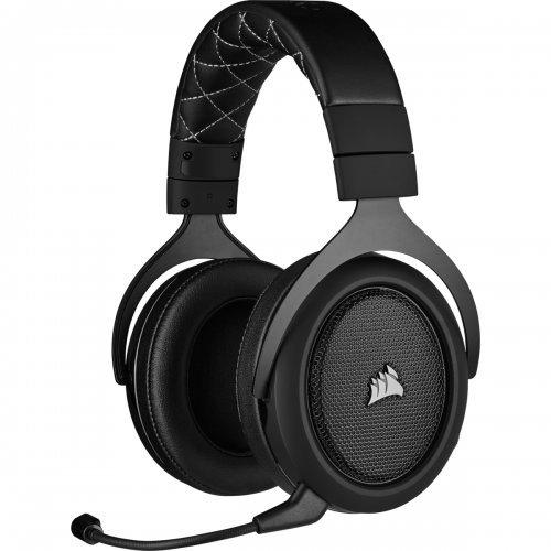 Слушалки Corsair HS70 PRO Wireless Gaming Headset (50mm неодимови говорители, 7.1 съраунд, 16 часа с едно зареждане, контрол на звука, микрофон, USB) Carbon (снимка 1)