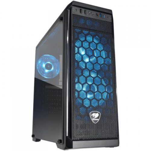Компютърна кутия COUGAR MX330-G AIR Mid-Tower, Mini-ITX/Micro-ATX/ATX, Max. Graphics Card Length-350mm/12.8 (Inch), Max. CPU Cooler Height-155mm/6.1 (Inch), CM, Tempered Glass, USB3.0x2/USB2.0 x2/Micx1/Audio x1, Water cooling support, 3x120mm LED BLUE FAN (снимка 1)