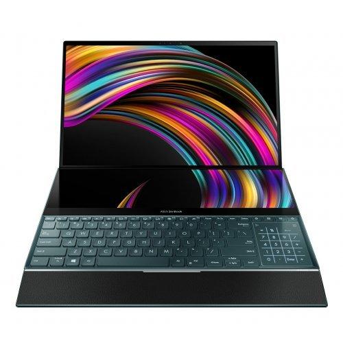 """Лаптоп Asus ZenBook Pro Duo UX581GV-H2002R, ScreenPad, син, 15.6"""" (39.62см.) 3840x2160 (4K Ultra HD) лъскав, Процесор Intel Core i7-9750H (6x/12x), Видео nVidia GeForce RTX 2060/ 6GB GDDR6, 16GB DDR4 RAM, 1TB SSD диск, без опт. у-во, Windows 10 Pro 64 ОС, Клавиатура- светеща с БДС (снимка 1)"""