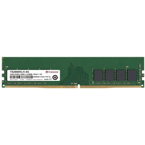 RAM памет DDR4 PC 4GB 2666Mhz, Transcend TS, 288 pin U-DIMM 1Rx8 512Mx8 CL19 1.2V, Unbuffered Long-DIMM (снимка 1)