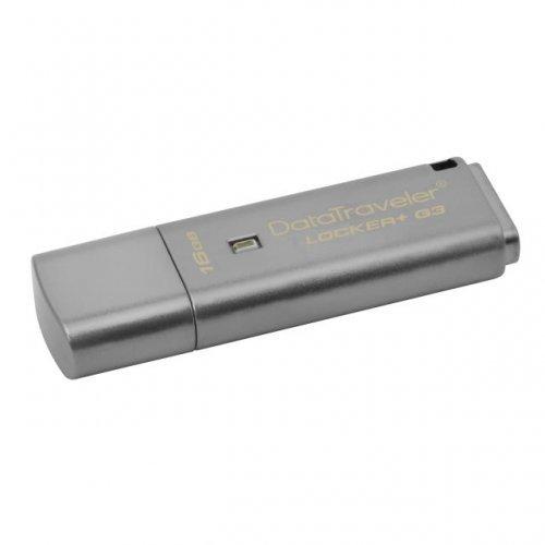 USB флаш памет 16GB KINGSTON DataTraveler Locker+ G3, USB 3.0, хардуерно криптиране, Сребрист (снимка 1)