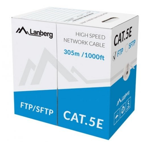 Кабел Lanberg LAN cable FTP CAT.5E 305m solid CCA, grey (снимка 1)