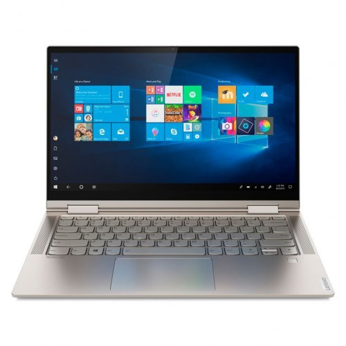 "Лаптоп Lenovo Yoga C740-14IML, 2 в 1, златист, 14.0"" (35.56см.) 1920x1080 лъскав IPS тъч, Процесор Intel Core i7-10510U (4x/8x), Видео Intel UHD Comet Lake Gen 9, 16GB DDR4 RAM, 1TB SSD диск, без опт. у-во, Windows 10 64 ОС, Клавиатура- светеща с БДС (снимка 1)"