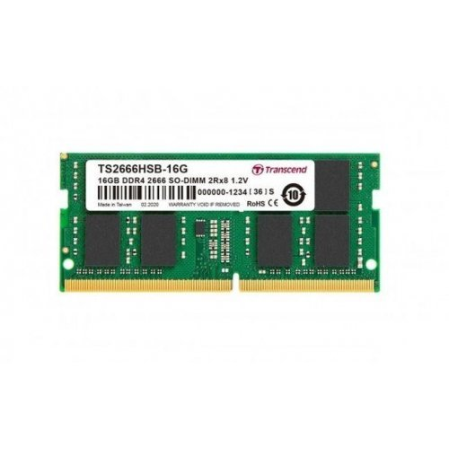 RAM памет DDR4 SODIMM 16GB 2666Mhz, Transcend TS, CL19, 1.2V, 260 pin Unbuffered SO-DIMM, 1Rx8, 1Gx8 (снимка 1)