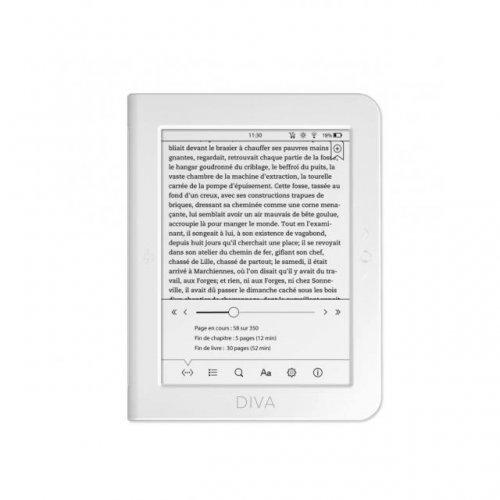 """Електронна книга BOOKEEN Diva HD 6"""", eBook четец, тъч, подсветка, 300dpi, бял (снимка 1)"""