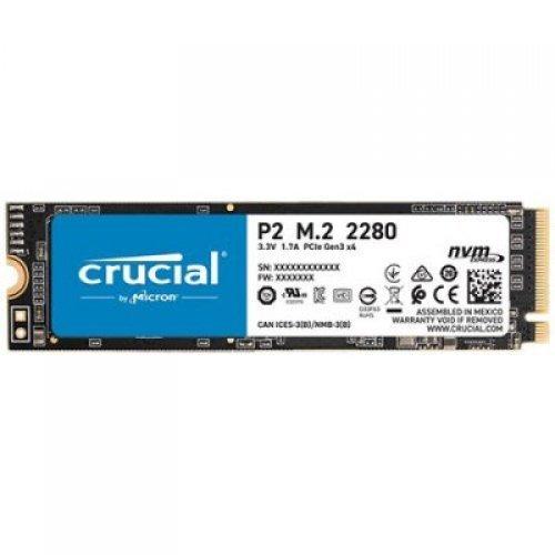 SSD CRUCIAL 250GB P2 SSD, M.2 2280, PCIe Gen3 x4, Read/Write: 2100/1150 MB/s, Random Read/Write IOPS: 170K/260K (снимка 1)