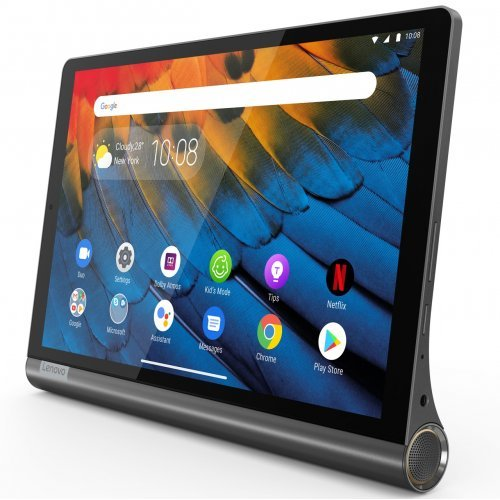 "Таблет Lenovo Yoga Smart Tab WiFi GPS BT4.2, Qualcomm 2.0GHz OctaCore, 10.1"" IPS 1920x1200 Glass, 3GB DDR3, 32GB flash, 8MP cam + 5MP front, IP52 waterproof, Face Unlock, MicroSD up to 256GB, USB-C, Android 9 Pie, 2 x 2W JBL speakers, Iron Grey (снимка 1)"