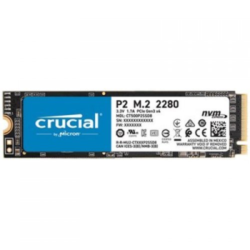 SSD CRUCIAL 500GB P2 SSD, M.2 2280, PCIe Gen3 x4, Read/Write: 2300/940 MB/s, Random Read/Write IOPS: 95K/215K (снимка 1)