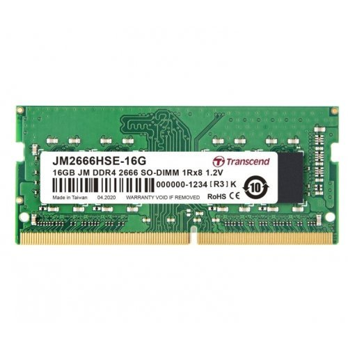 RAM памет DDR4 SODIMM 16GB 2666Mhz, Transcend JM, CL19, 1.2V, 1Rx8 2Gx8 (снимка 1)
