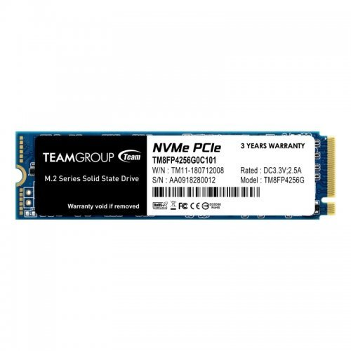 SSD Team Group 256GB, MP34, M.2 2280, PCIe Gen 3 x4, NVMe 1.3 (снимка 1)
