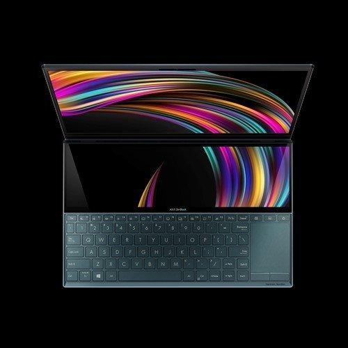 """Лаптоп Asus ZenBook Duo UX481FA-WB511T, син, 14.0"""" (35.56см.) 1920x1080 (Full HD) лъскав 60Hz тъч, Процесор Intel Core i5-10210U (4x/8x), Видео Intel UHD 620, 16GB LPDDR3 RAM, 512GB SSD диск, без опт. у-во, Windows 10 64 ОС, Клавиатура- светеща с БДС (снимка 1)"""
