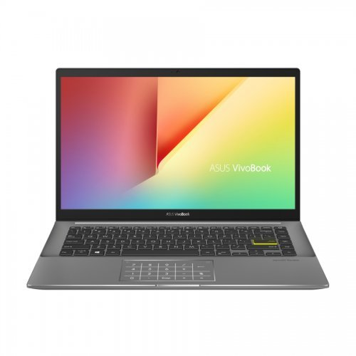 "Лаптоп Asus Vivobook S14 S433JQ-WB713T, черен, 14.0"" (35.56см.) 1920x1080 (Full HD) без отблясъци 60Hz, Процесор Intel Core i7-1065G7 (4x/8x), Видео nVidia GeForce MX350/ 2GB GDDR5, 8GB DDR4 RAM, 512GB SSD диск, без опт. у-во, Windows 10 64 ОС, Клавиатура- светеща с БДС (снимка 1)"