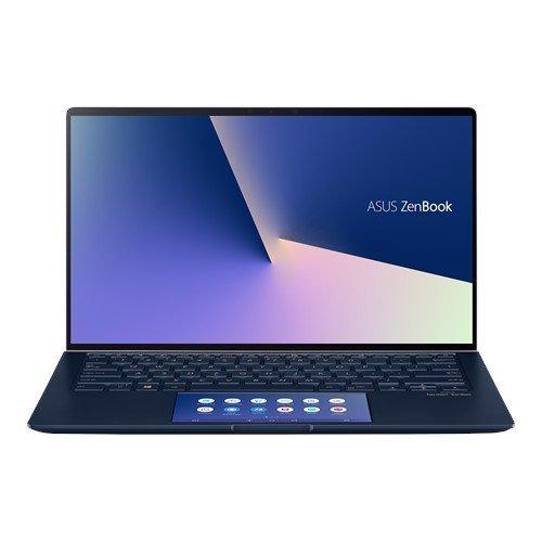 """Лаптоп Asus ZenBook 14 UX434FQC-WB711R, ScreenPad, син, 14.0"""" (35.56см.) 1920x1080 (Full HD) лъскав 60Hz тъч, Процесор Intel Core i7-10510U (4x/8x), Видео nVidia GeForce MX350/ 2GB GDDR5, 16GB LPDDR3 RAM, 512GB SSD диск, без опт. у-во, Windows 10 Pro 64 ОС, Клавиатура- светеща с БДС (снимка 1)"""