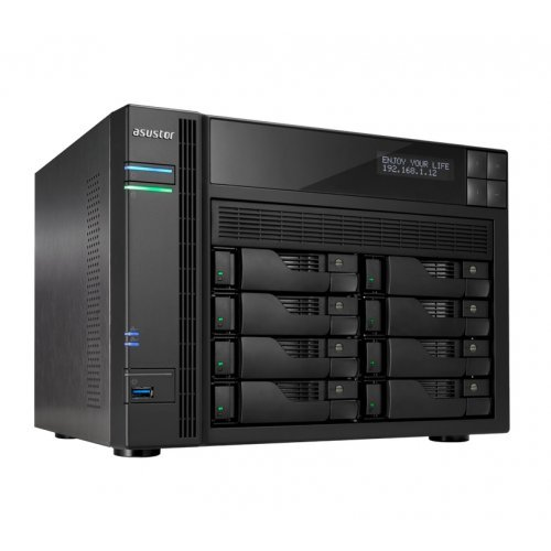 NAS устройство Asustor AS6208T, 8-Bay NAS, Intel Celeron 1.6GHz Quad-Core (up to 2.24 GHz), 2GB DDR3, GbE x 4, HDMI, SPDIF, PCI-E (10GbE ready), USB 3.0 & SATA, LCD Panel, WoL, System Sleep Mode, with lockable tray (снимка 1)