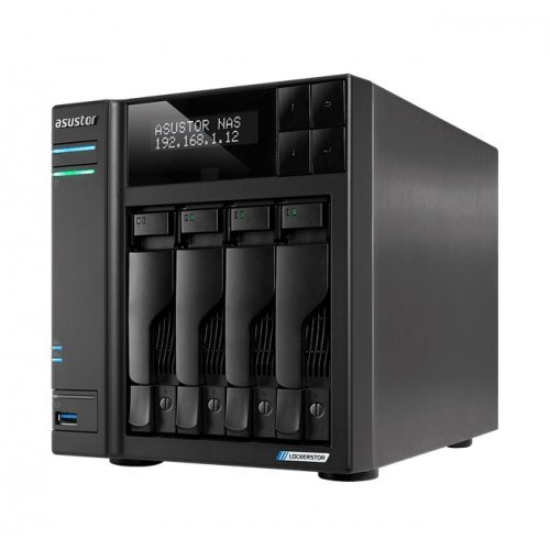 NAS устройство Asustor Lockerstore 4 AS6604T, 4-Bay NAS, Intel Apollo Lake Quad-Core J4125 up to 2.7GHz, 4 GB SO-DIMM DDR4,M.2 Slots (2280 NVMe SSD) x2, GbE x 2, USB 3.2 x 3, HDMI 2.0, WOW (Wake on WAN), WOL, System Sleep Mode, AES-NI hardware encryption (снимка 1)