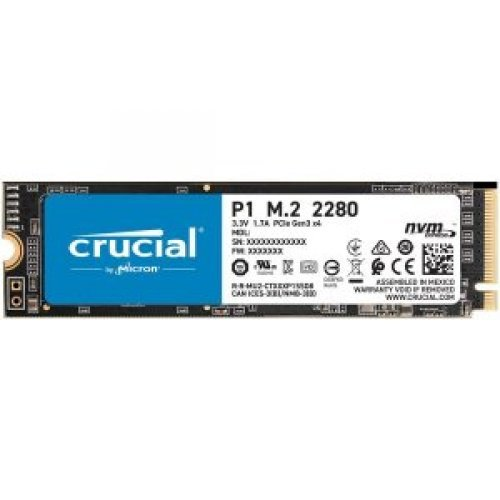 SSD Crucial P1 2TB, M.2 2280, NVMe, Read/Write: 2000 / 1700 MB/s, Random Read/Write IOPS 250K/250K (снимка 1)