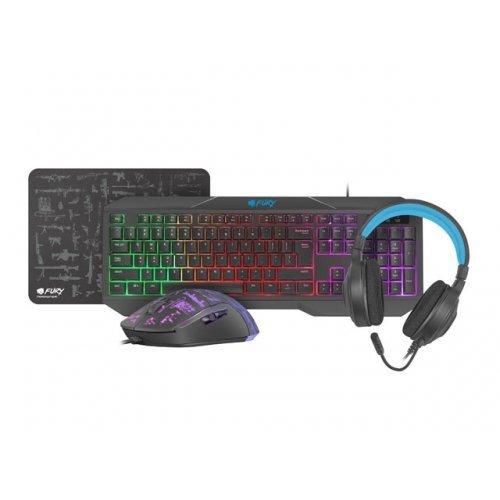 Клавиатура Fury Gaming Combo Set 4in1 Thunderstreak 3.0 Keyboard + Mouse + Headphones + Mousepad, US Layout (снимка 1)