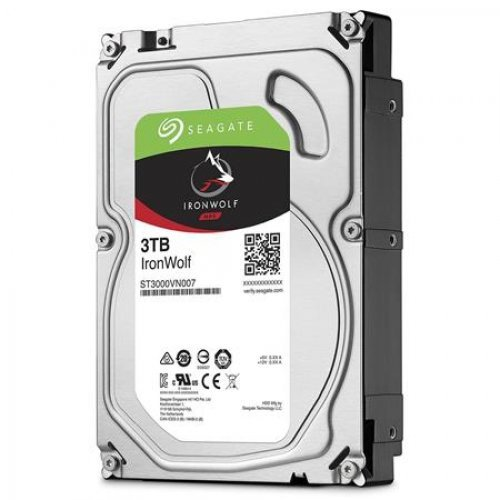 Твърд диск SEAGATE NAS HDD 3TB IronWolf 5900rpm 6Gb/s SATA 64MB cache 3.5inch 24x7 CMR for NAS and RAID rackmount systemes BLK single pack (снимка 1)