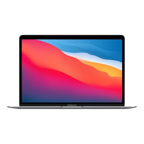 "Лаптоп Apple MacBook Air M1 2020, сив, 13.3"" (33.78см.) 2560x1600 (WQXGA) лъскав IPS, Процесор Apple M1 (8 Core) 3.20 GHz, 7C GPU, Видео Apple M1 7-core, 8GB LPDDR4X RAM, 256GB SSD диск, без опт. у-во, Apple macOS Big Sur 11.0 ОС, Клавиатура- светеща (снимка 1)"