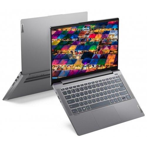 "Лаптоп Lenovo IdeaPad 5 14ITL05 82FE, сив, 14.0"" (35.56см.) 1920x1080 (Full HD) без отблясъци IPS, Процесор Intel Core i7-1165G7 (4x/8x), Видео nVidia GeForce MX450/ 2GB GDDR6, 8GB DDR4 RAM, 512GB SSD диск, без опт. у-во, без ОС, Клавиатура- с БДС (снимка 1)"
