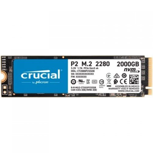 SSD Crucial 2000GB Crucial P2 3D NAND NVMe PCIe M.2 SSD (снимка 1)