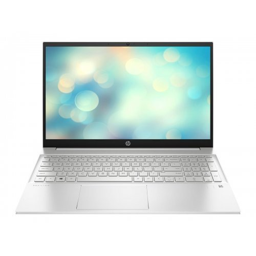 "Лаптоп HP Pavilion 15-eg0004nu Ceramic white, Core i7-1165G7(2.8Ghz, up to 4.7GH/12MB/4C), 15.6"" FHD IPS 300nits AG, 16GB 3200MHz 2DIMM, 1TB PCIe SSD, Nvidia GeForce M450 2GB, WiFi a/c 2x2 + BT 5, FPR, Backlit Kbd, 3C Batt, Free DOS (снимка 1)"