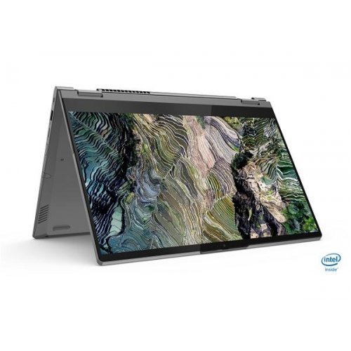 "Лаптоп Lenovo ThinkBook 14s Yoga, сребрист, 14.0"" (35.56см.) 1920x1080 (Full HD) лъскав 60Hz IPS тъч, Процесор Intel Core i7-1165G7 (4x/8x), Видео Intel Iris Xe Graphics, 16GB DDR4 RAM, 512GB SSD диск, без опт. у-во, Windows 10 Pro 64 ОС, Клавиатура- светеща с БДС (снимка 1)"