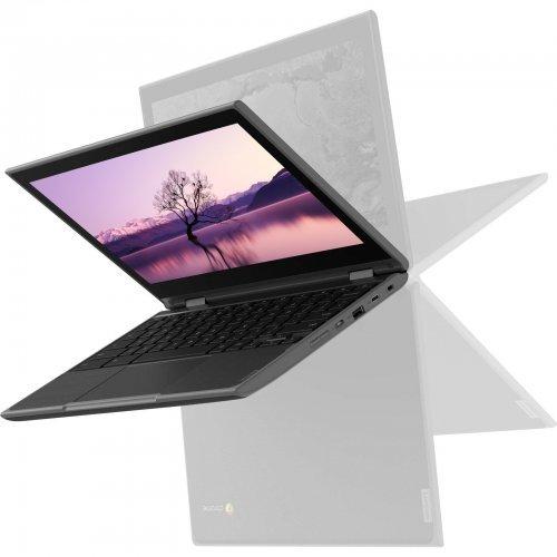 """Лаптоп Lenovo 300e, черен, 11.6"""" (29.46см.) 1366x768 (HD) IPS тъч, Процесор Intel Celeron N4120 (4x/4x), Видео Intel UHD 600 Gen 9, 4GB LPDDR4 RAM, 64GB eMMC диск, без опт. у-во, Windows 10 Pro 64 ОС (снимка 1)"""
