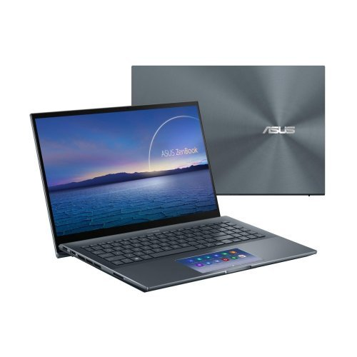 "Лаптоп Asus Zenbook PRO UX535LI-WB711R, сив, 15.6"" (39.62см.) 1920x1080 (Full HD) лъскав IPS тъч, Процесор Intel Core i7-10870H (8x/16x), Видео nVidia GeForce GTX 1650 Ti/ 4GB GDDR6, 16GB DDR4 RAM, 512GB SSD диск, без опт. у-во, Windows 10 Pro 64 ОС, Клавиатура- светеща с БДС (снимка 1)"