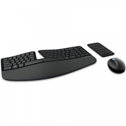 Комплект клавиатура и мишка Microsoft Sculpt Ergonomic Wireless Desktop, English, USB port, Black, L5V-00021 (снимка 1)