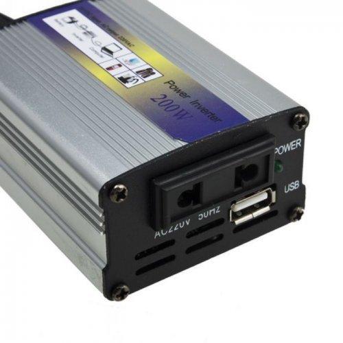 Инвертор на напрежение DC 24V на AC 220V, 200W Car Power Inverter, 5V USB Output (снимка 1)