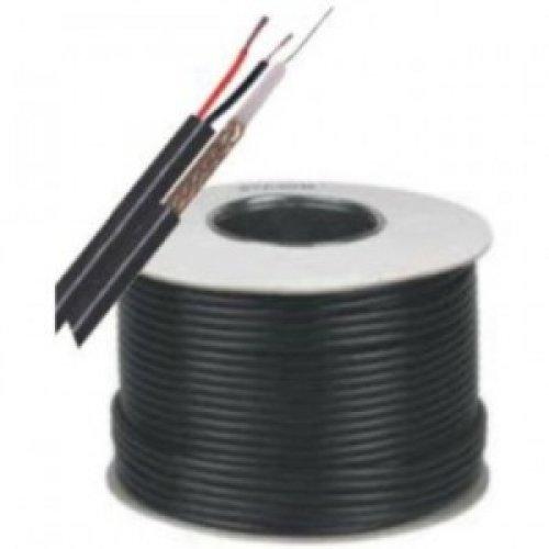 Mini RG59 + 2x0,5, Микро-коаксиален кабел с медно жило и алуминиева оплетка и захранващ кабел 2х0.5 мм. метриран - 100 метра ролка (снимка 1)