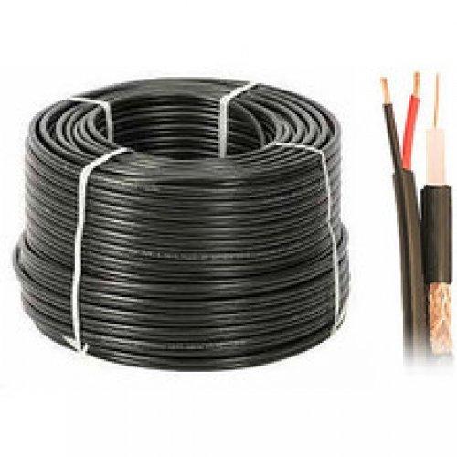 RG59+2x0,5/305m, Коаксиален кабел с медно жило и медна оплетка с покритие 85% и захранващ кабел 2х0.5 мм, метриран - 305 метра ролка (снимка 1)