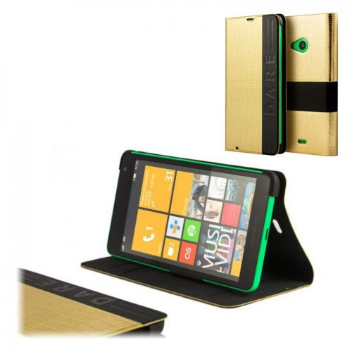 MOZO Wallet T-Bar Case for Microsoft Lumia 535, Gold Skin (снимка 1)